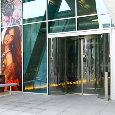 Circular Sliding Door by Open Entrances