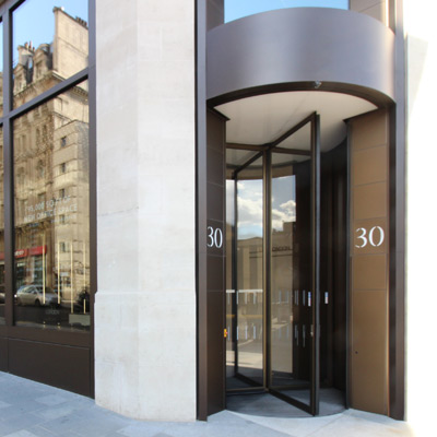Revolving doors at 30 Leicester Square, London